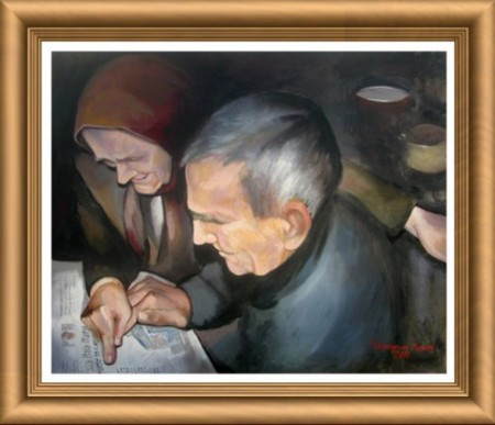 Old reading the paper_Ion Georgescu-Muscel