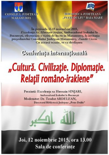 Afis Conferinta - Cultura. Civilizatie. Diplomatie. Relatii romano-irakiene final print