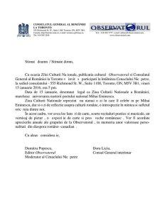 Invitatia Consulatuluii General al Romaniei din Toronto si Observatorului la sarbatorierea Ziua Culturiii Nationale - ziua de nastere a lui Mihai Eminescu - 15 ianuarie 2016