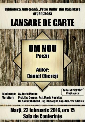 afis lansare carte_OM NOU_DANIEL CHEREJI