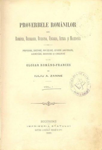 BU_Sibiu_Zanne_Proverbele_Romanilor_IV_pag_titlu