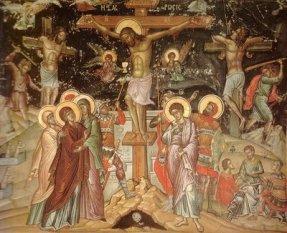 Hristos pe cruce intre talhari