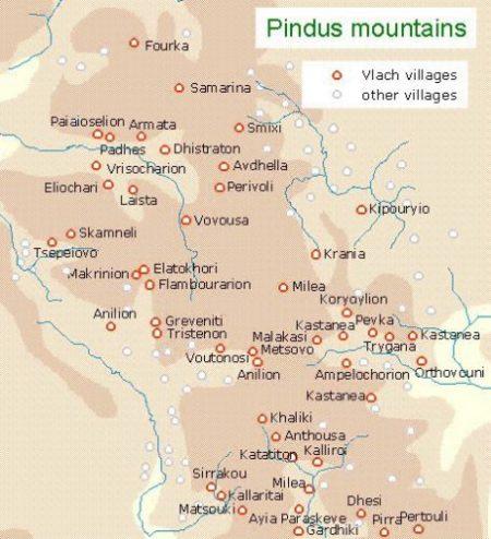 localitatile aromane din muntii Pindului