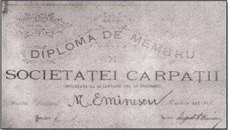 Mihai Eminescu_membru_Societatea Carpatii