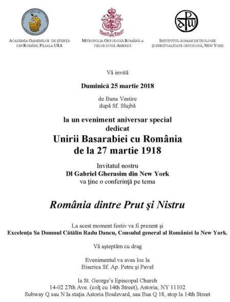 Unirea Basarabiei 1918-2018 25 martie New York